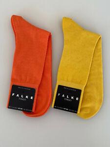 2x FALKE Herren Socken TIAGO Men Socks 47 - 48 Fil D'Ecosse gelb orange NEU