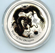 2012 Year of the Dragon Perth Mint Gold Gilted Silver .999 Coin w/Coa & Box