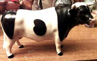 Gorgeous Vintage Black & White Pottery Bull Figure  VGC