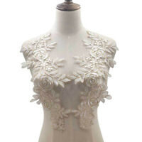 KQ_ AB_ BL_ 1Pair Lace Embroidered Flower Neckline Collar Trim Clothes Sewing Ap