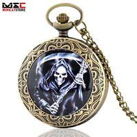 Antique Steampunk Bronze Retro Pocket Watch Bronze Necklace Quartz Chain Gift UK