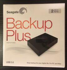Seagate Backup Plus Desktop External Hard Drive 2 TB USB 3.0 Black - New In Box