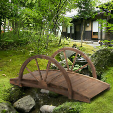 Wooden Garden Bridge Lawn Décor Stained Finish Arc Outdoor Pond Walkway