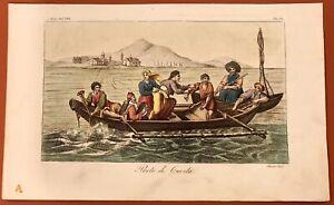RARE 1844 PHILIPPINES COSTUME PRINT PORT OF CAVITE SASSO LA PEROUSE ENGRAVING