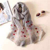 Embroidery Lady Scarves Soft Wool Pashmina Fashion Shawls Womens Foulard Bandana