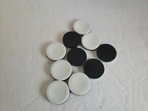 10 Othello Game Pieces Replacement Black and White Discs Chips Tokens -Lot of 10