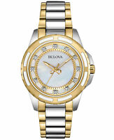 Bulova Women's 98P140 Quartz Diamond Accent Two-Tone Bracelet 36mm Watch