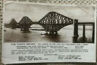 THE FORTH BRIDGE STATISTICS VINTAGE POSTCARD REAL PHOTOGRAPH OLD POST CARD