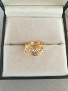 Exklusiver Ring Gold 750 mit Marguise/Navette Diamant 0,26ct Gewicht 5g