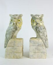 Pair Vintage Alabaster Bookends Hand Carved Great Horned Owl Bird from Italy