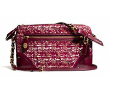 NWT Coach Poppy Quilted Boucle Flight Bag B4/bright Magenta