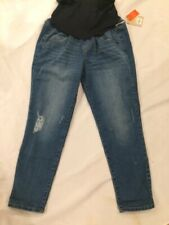 Maternity a Glow Belly Panel Faded Capri Cropped Medi Wash Jeans Size 12 4c