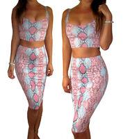 Peaches&Cream 2 Piece Skirt Crop Top Co-Ord Bodycon Snake Print Size UK 8 10 12
