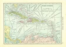 1911 Handy Atlas Vintage Map Pages - Caribbean on one side and Mexico on the .