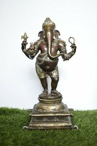 "17"" Large Antique Master Art Ganesha Bless Statue Bronze Jai God Hindu"