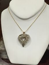 Sterling Silver Diamond Heart Pendent Necklace 18 Inch Box Chain # 1238