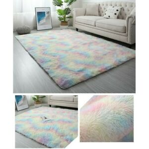 Soft Fluffy Rugs Anti-Skid Shaggy Area Rug Tie-Dye Carpet Home Bedroom Floor Mat