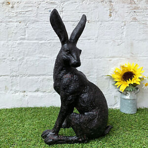 Vintage Bronze Effect Resin March Rabbit Hare Garden Patio Lawn Statue Ornament