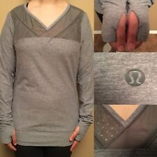 Lululemon 8 Or 10 Gray Heathered Just Breathe Long Sleeves Shirt Mesh Thumbholes