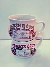 Vintage Ceramic Recipe Soup Bowl Mugs Tomato and Mushroom EUC