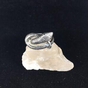 Vintage Sterling Silver Snake Ring Rattlesnake Textured Size 7.5 Biker Viper 925