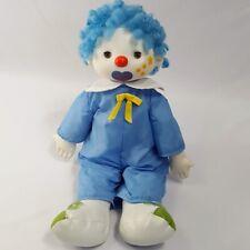 "16"" Clown Doll Blue Curly Hair Rubber Head Cloth Body Flowers Cheek Closes Eyes"
