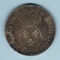 France. 1716-A Louis XV - Ecu.  MM-Flower (Paris) Parts of Host Coin Visible. VF