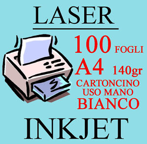 Carta Cartoncino A4 100 Fogli Bianco Uso Mano 140 gr. Stampante Laser Inkjet