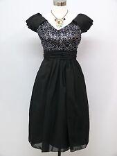 Cherlone Black Prom Ball Evening Bridesmaid Formal Knee Length Dress Size 14-16