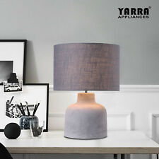 Contemporary Concrete Table Lamp Bedside Light Body Grey Fabric Shade E27