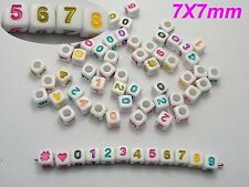 """200 Color in White Assorted Number """"#"""" Acrylic Cube Pony Beads 7X7mm"""