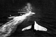 New 5x7 Photo Korean War Era F4D-1 Skyray Approaches Aircraft Carrier USS ESSEX