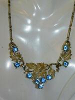 Vtg Coro Pegasus Silver tone Grape Leaf Blue Rhinestone Choker Necklace 4i 94