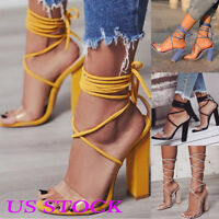 US Women Summer Sandals Ladies High Block Heels Lace Up Peep Toe Party Shoes New