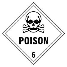 Poison 6 Hazard Warning Labels Stickers COSHH PPE