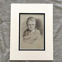 Antico Disegno Matita Schizzo Ritratto Sir Walter Scott Scozzese Autore Writer