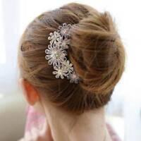 Crystal Vintage Rhinestone Petal Tuck Comb Women Flowers Headwear Accessories