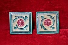 2 Pc Ceramic Flower Tiles Old Vintage Floor Wall Home Decor Collectible BG-30