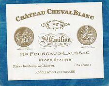 PROMOTION ST EMILION 1ER GCC ETIQUETTE CHATEAU CHEVAL BLANC 1947 73 CL§13.11/17§