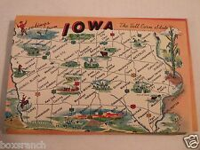 1958 POSTCARD GREETINGS FROM IOWA TOURISM TRAVEL CARD PICTURES TALL GRASS STATE