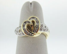 Genuine 1/3ct Diamonds Solid 14k Two-Tone Gold Heart Ring FREE Sizing