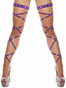 Sexy Women Lingerie Bandage Fishnet Stockings Crystal Studded Rhinestone Tights