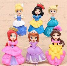 Princess Ariel Cinderella Belle Sophia Elsa Toys Figurine Cake Topper x 6pcs