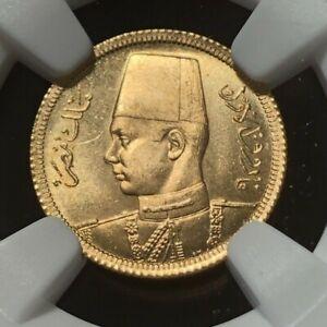 AH1357//1938 EQYPT 20 PIASTRES GOLD - NGC MS65 - Royal Wedding