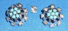 Aretes clips de 925er plata con turquesas (da3512)