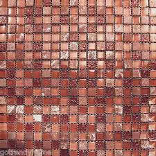 Sample- Marble  Red Pink Glass Mosaic Tile Blend For Kitchen Backsplash Bath Spa