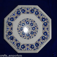 "18"" White Marble Coffee Table Top Foyer Garden Furniture Inlaid Pietra Dura Arts"