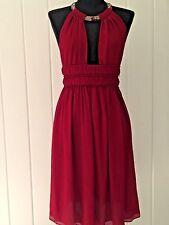 ROBERTO CAVALLI Red Silk Beaded Neck Dress Size 2 I 38 $2990
