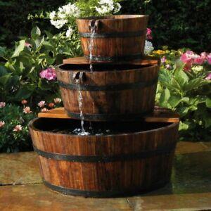 Ubbink Fontaine de jardin 3 Tonneaux en cascade Cascade d'extérieur en bois