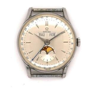 Minty Men's Omega Triple Date Moon Phase Cosmic Wristwatch Ref. 2471 Circa 1952